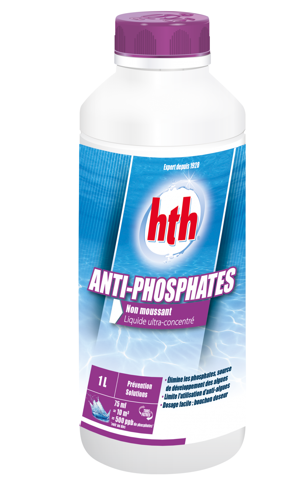 Hth anti phosphates for Consommation chlore liquide piscine